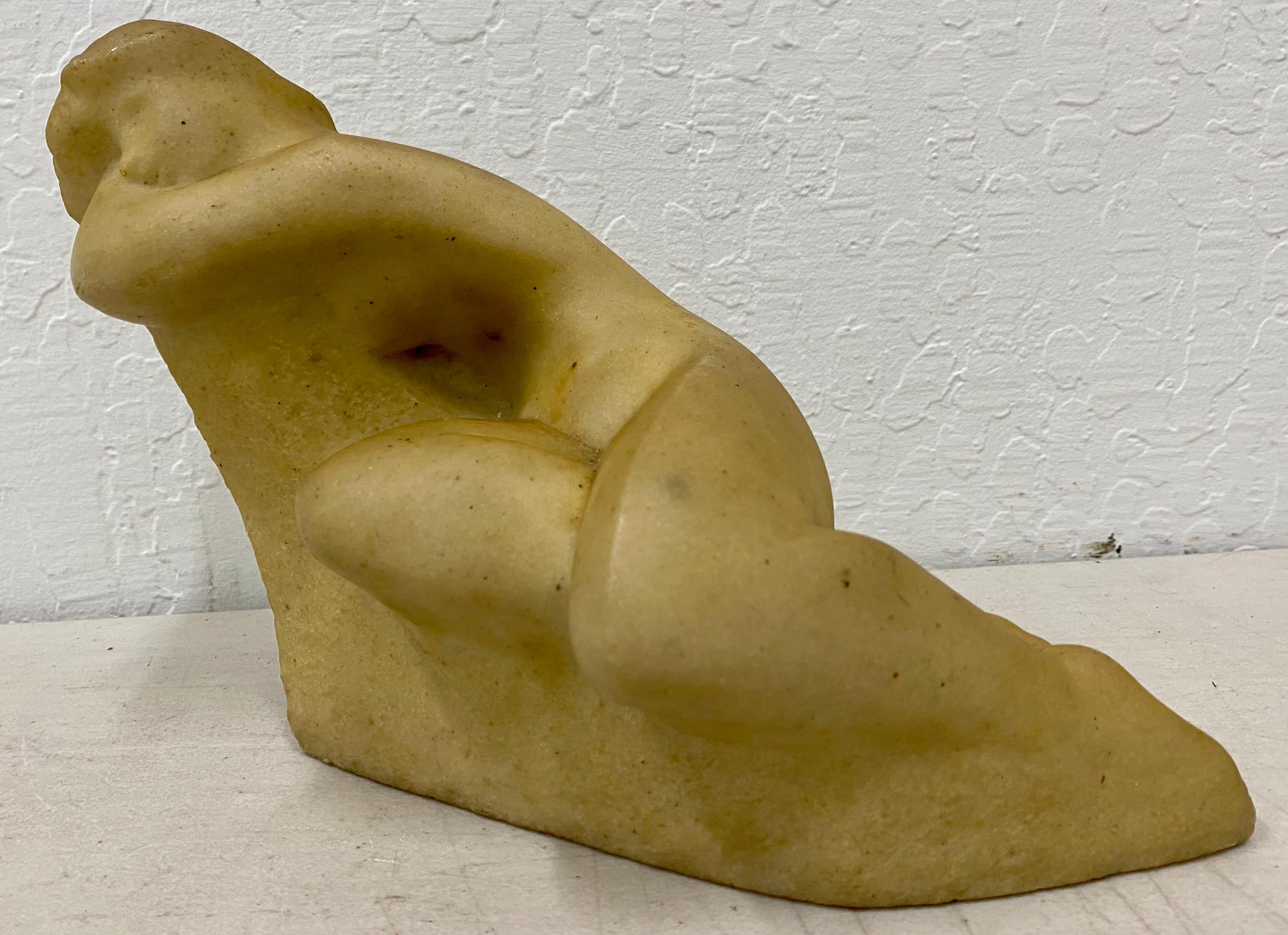 Vincent Glinsky Alabaster Reclining Nude Sculpture c.1950