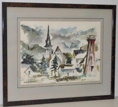 Mendocino Village, California Original Watercolor by Gerald Gleeson c.1970