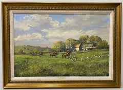 """Clive Madgwick """"Summer Evening Hunt"""" Original Oil on Canvas 20th C."""