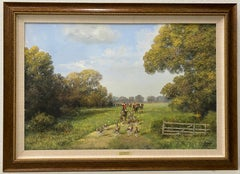 """Clive Madgwick """"Countryside Hunt"""" Original Oil on Canvas C.1980"""