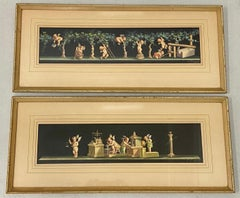 "Classical Frieze Paintings ""Working Putti, Wine and Metals"" by Vincenzo Bisogno"