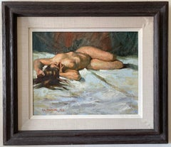 "Alan Alexander ""Reclining Nude"" Original Oil Painting c.1979"