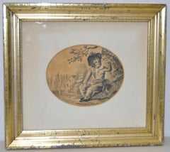 Charming early 19th century Graphite Portrait of a Young Boy with Birds