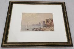 Early 20th Century Watercolor Coastal Landscape w/ High Cliffs by W. Degraff