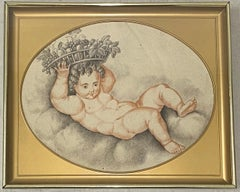 """19th Century French Graphite Drawing """"New Year Baby"""" With Basket of Fruit C.1820"""