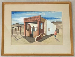 John Skolle Original Gouache on Paper New Mexico Landscape c.1940