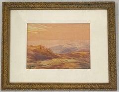 Vintage Desert Mountain Sunset Landscape Watercolor Painting by L. Hoen