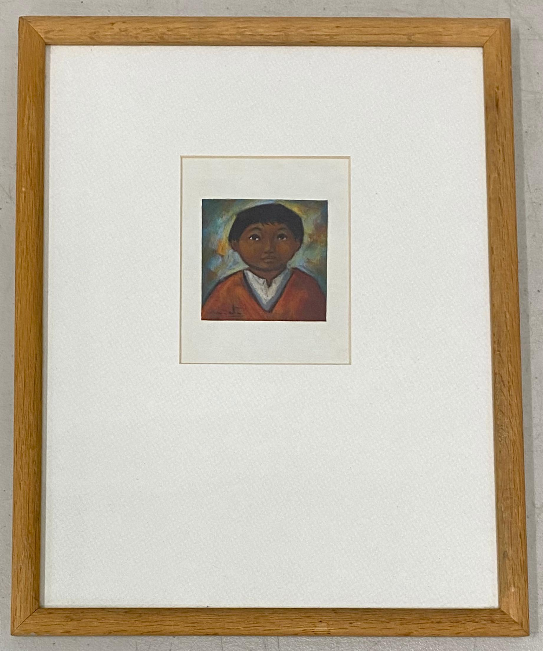 Arturo Nieto Pastel Portrait Miniature of a Young Boy c.1970