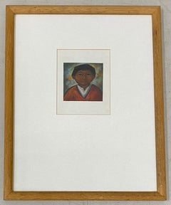 Arturo Nieto Pastel Portrait Miniature of a Young Boy c.1970