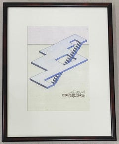 Oscar Reutersvard Original Op Art Pen, Ink & Watercolor Drawing C.1990