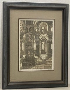"Valerie Thornton ""The Chapel of St. John, Tower of London"" Original Etching C.19"