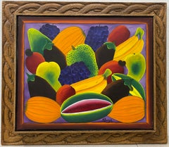 """Alberoi Bazile """"Fruit"""" Still Life Painting in Hand Carved Frame C.1970"""