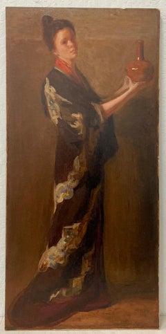 Elizabeth Vila Taylor Portrait of a Woman in Kimono Holding Red Vase C.1890
