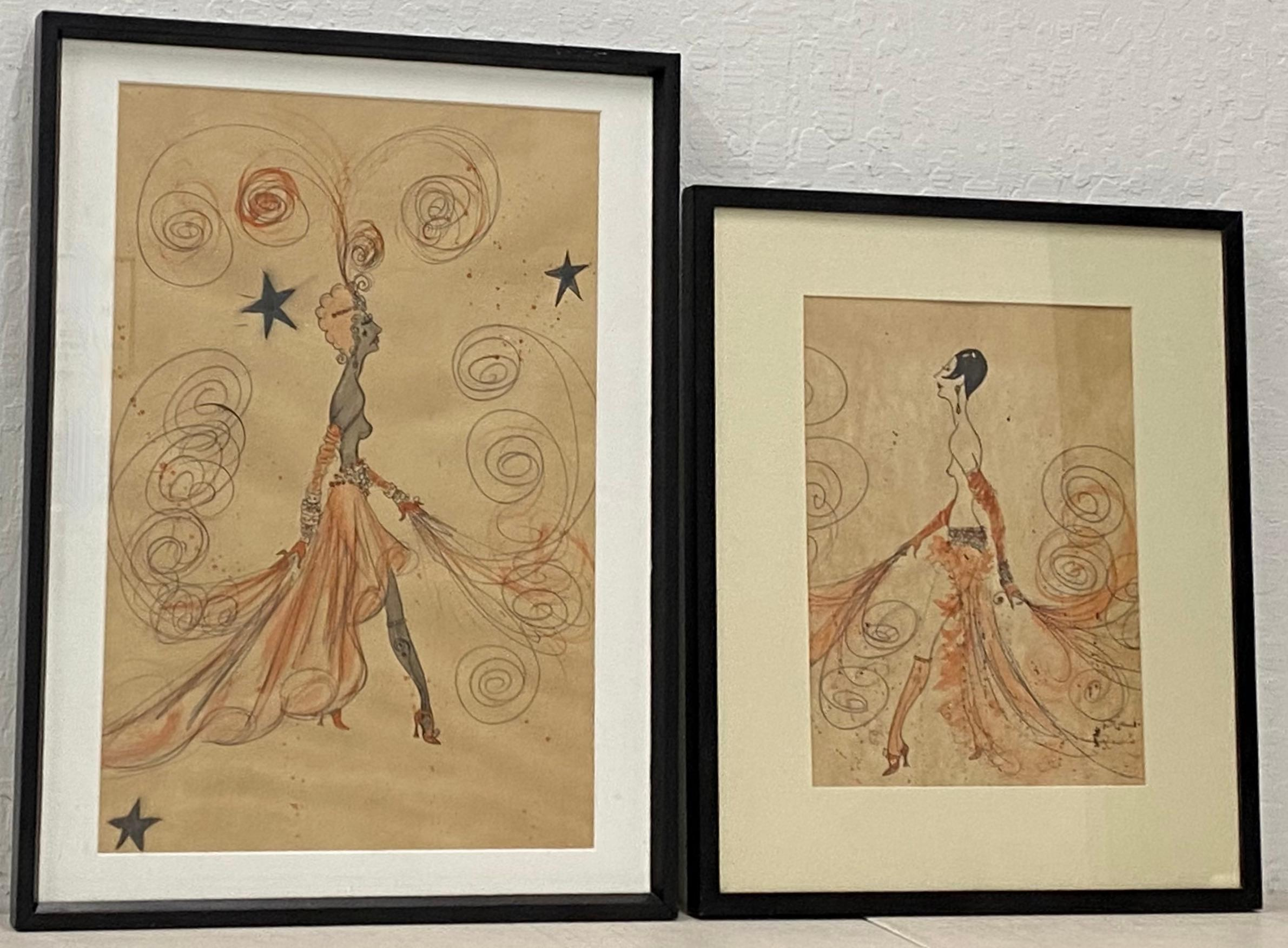 Pair of High Fashion Deco Style Illustrations by Bettencourt C.1978