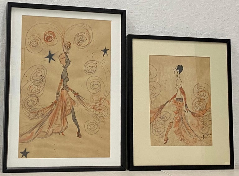 Unknown Nude - Pair of High Fashion Deco Style Illustrations by Bettencourt C.1978