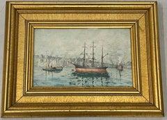 Carl Bjork European Port Scene Original Watercolor C.1917