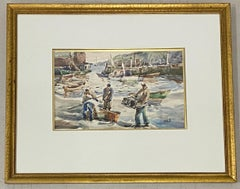 """John Chetcuti """"Fishermen"""" Original Watercolor c.1950"""