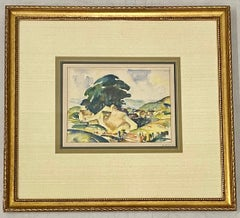 """Sinclair Howell Ross """"Cottage with an Ocean View"""" Original Watercolor c.1941"""