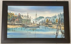 Pacific Northwest Harbor Scene Original Watercolor by G.G. Kennedy c.1967