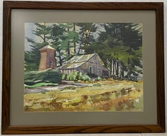 Country Barn Original Watercolor by Meyer (Watercolor Society of America) C.1970