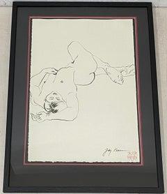 Jody Keane Reclining Nude Original Pen and Ink Drawing 20th c.