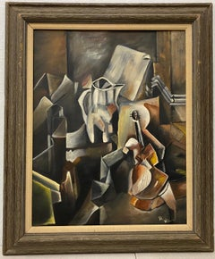 Vintage Cubist Still Life Oil Painting by Al Williams c.1940s to 1950s