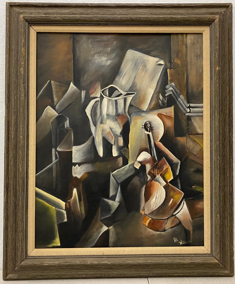 """Vintage Cubist Still Life Oil Painting by Al Williams c.1940s to 1950s  Original oil on board  Dimensions 22"""" wide x 28"""" high  The frame measures 30"""" wide x 36"""" high  Signed in the lower right corner  Good vintage condition"""