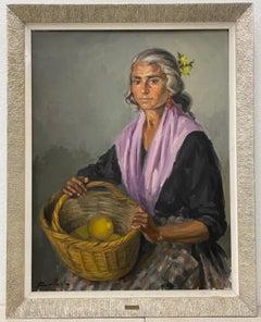Miguel Ballesta (Spain, 20th C.) Oil Portrait of a Woman C.1966