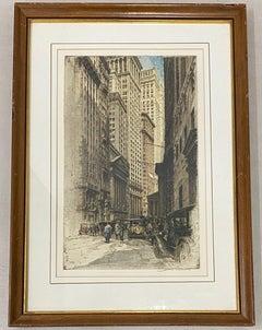 "Tanna Kasimir-Hoernes ""Broad Street, New York"" Etching W/ Aquatint C.1930"