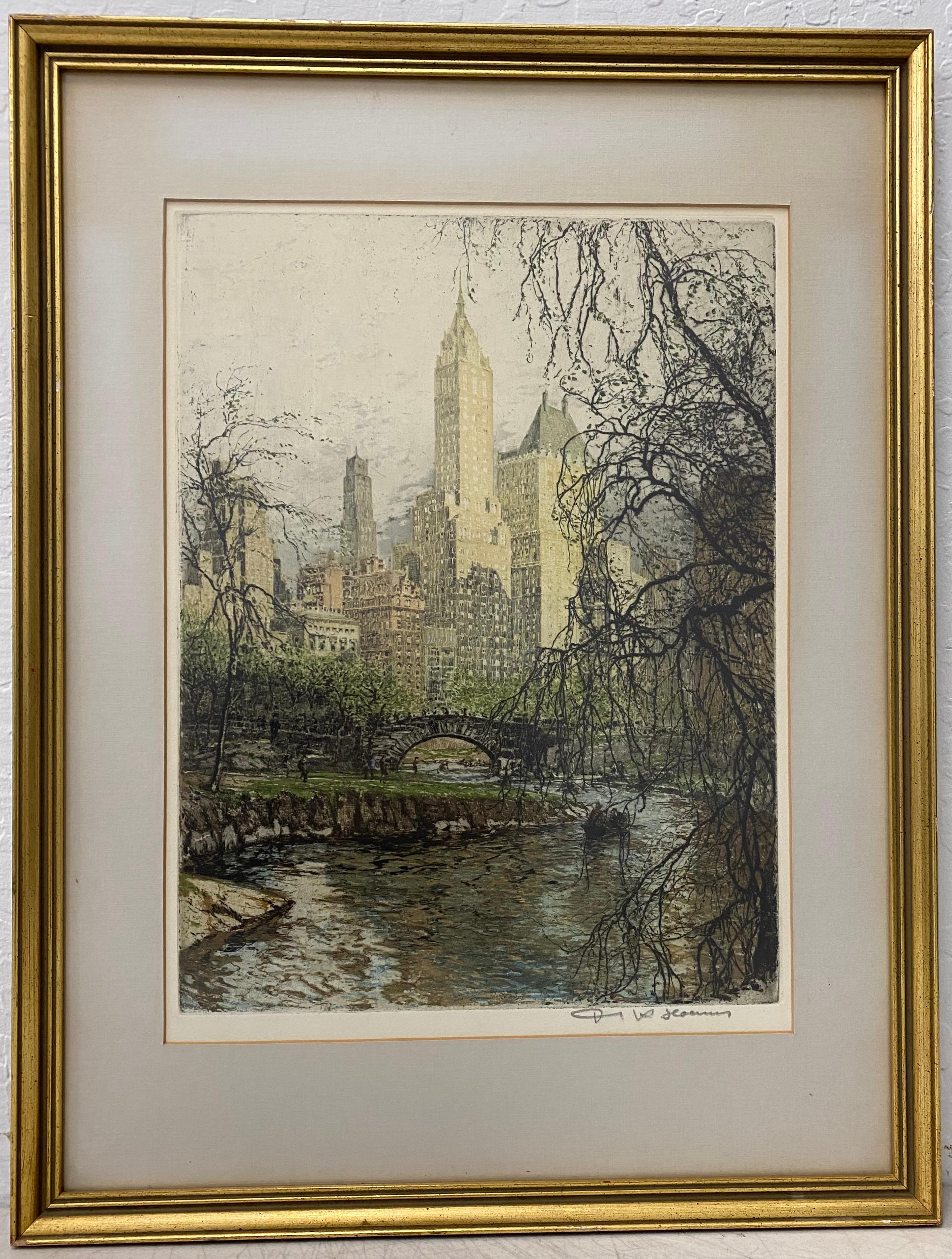 "Tanna Kasimir-Hoernes ""New York - Central Park"" Etching W/ Aquatint C.1930"