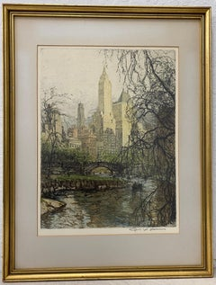 "Tanna Kasimir-Hoernes ""New York - Central Park"" Etching W/ Aquatint C.1930"
