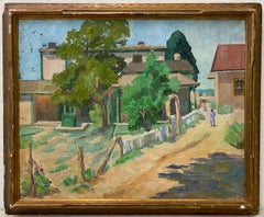 Laura Hoernig New Mexico Landscape with Houses and Figures Oil Painting c.1930s
