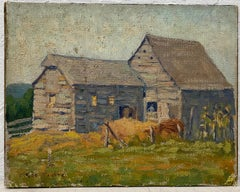 """George Parker """"Country Barn"""" Original Oil Painting C.1920"""