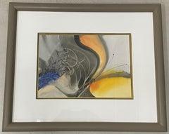 """Suzana Mattos (Brazil, 20th c.) """"Moth"""" Original Watercolor c.1980s"""