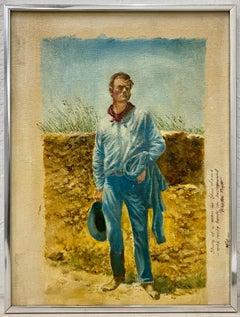 "Newton Pratt ""Study of a Man in Blue Levi's"" Original Oil Painting C.1978"