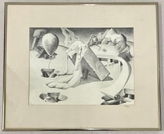 "Wilson G. Turner ""Surreal Landscape"" Original Graphite Drawing c.1943"
