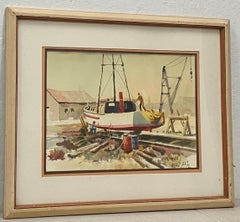 "Jake Lee ""Out for Repairs"" Original Watercolor C.1987"