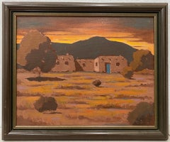 "Albert Irving Ennis ""New Mexico Sunset"" Original Oil Painting C.1950"