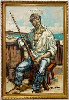 "Alberto Ruiz Vela ""Portrait of a Fisherman"" Original Oil Painting C.1966"