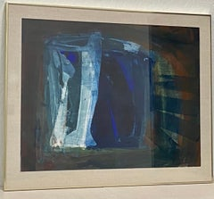 Krista Collins Large Scale Abstract in Blues Painting 20th Century