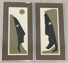 "Mildred Dienstag ""She & He"" Original Mid Century Framed Serigraphs c.1975"