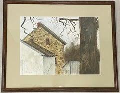 "Darlene Huber ""Chester County, Pennsylvania Stone House"" Watercolor C.1982"
