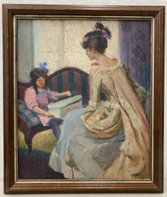 """Henry Charles Hanning """"Mother and Daughter"""" Original Oil Painting C.1930"""