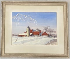 Vintage Watercolor of a Red Barn in a Winter Landscape Mid 20th Century