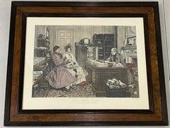 """James Dobie """"The New Will"""" Color Engraving After Walter Dendy Sadler c.1894"""