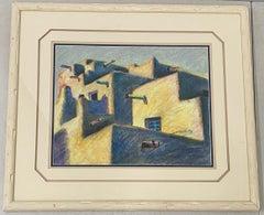 """Margie Dickson """"Pueblo 2"""" Original Pastel on Paper 20th Century"""