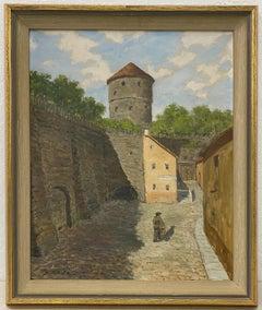 Osvald Eslon European Interior Courtyard Scene w/ Lone Figure Painting C.1940