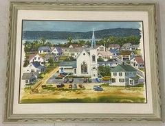 "20th Century ""Coastal Church on Sunday"" Original Watercolor by Burchfield"