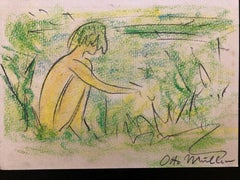 Attributed to Otto Mueller  Nude in Landscape