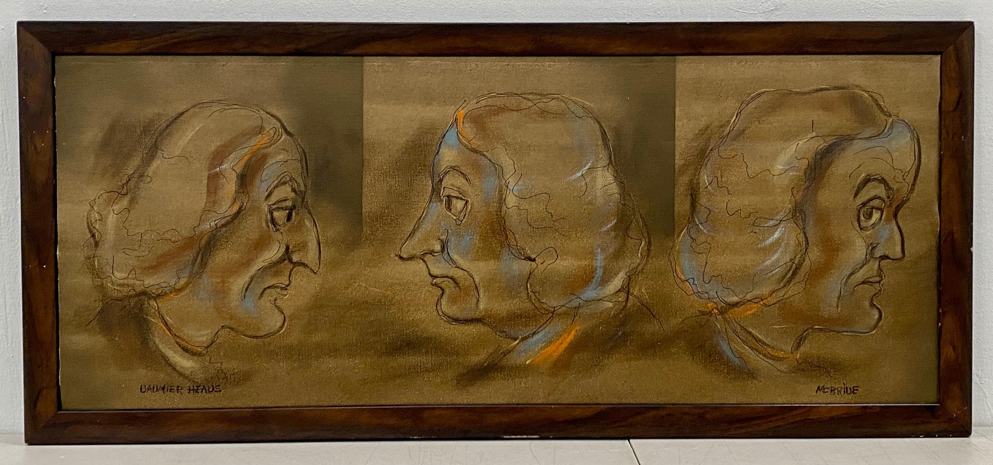 """William McBride """"Daumier Heads"""" Original Oil on Canvas 20th c."""